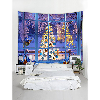 cheap Wall Tapestries-Christmas Santa Claus Wall Tapestry Art Decor Blanket Curtain Picnic Tablecloth Hanging Home Bedroom Living Room Dorm Decoration 3D Window Christmas Tree Gift Snow Elk Polyester