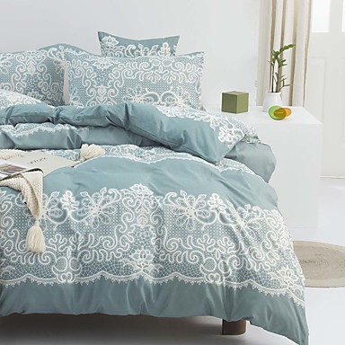 cheap Duvet Covers-Blue Lace Pattern Bedding Set Duvet Cover Set Floral Printed Modern Comforter Cover-3 Pieces-Ultra Soft Hypoallergenic Microfiber Include 1 Duvet Cover and 1 or2 Pillowcases