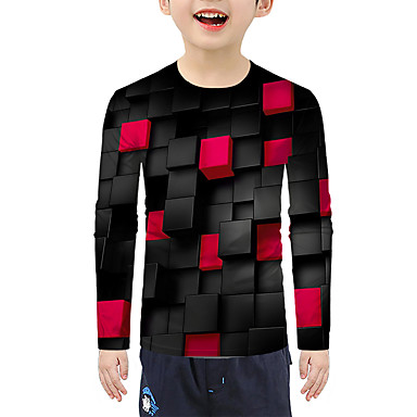 cheap Baby & Kids-Kids Boys' Active Basic Color Block 3D Print Long Sleeve Blouse Red