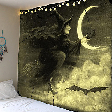 cheap Wall Tapestries-Tapestry Print Halloween Witch Moon Carpet Home Decoration Night Moon Hippie Tapestry Wall Tapestry Decoration