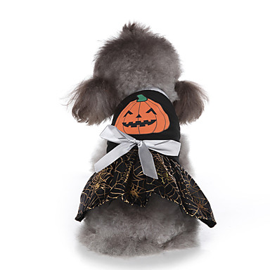 cheap Dog Clothes-Dog Halloween Costumes Costume Dress Pumpkin Cosplay Cute Christmas Party Dog Clothes Breathable Black Costume Polyester S M L XL