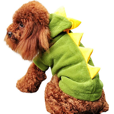 cheap Dog Clothes-Dog Halloween Costumes Costume Hoodie Solid Colored Dinosaur Fun & Whimsical Cosplay Halloween Holiday Winter Dog Clothes Warm Red Green Costume Polyster XS S M L XL