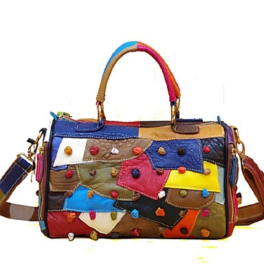 cheap Handbag & Totes-Women's Bags Cowhide Top Handle Bag Zipper for Daily / Date Black / Rainbow
