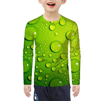 cheap Boys' Tops-Kids Boys' Active Basic 3D Print Long Sleeve Blouse Green