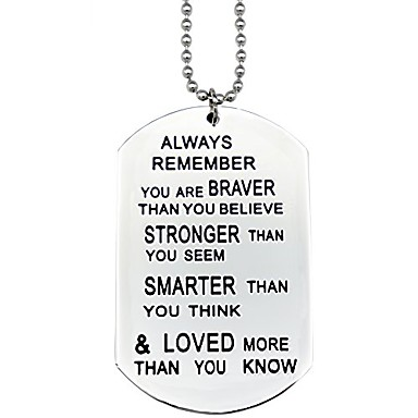 cheap Pendant Necklaces-you are braver than you believe necklaces keyring