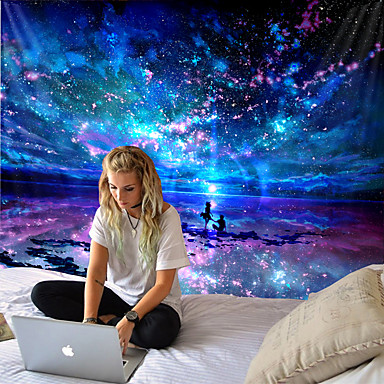 cheap Wall Tapestries-Tongdi modern tapestry INS elegant starry universe companion under the starry sky printed wall-mounted doily home decoration living room bedroom living room