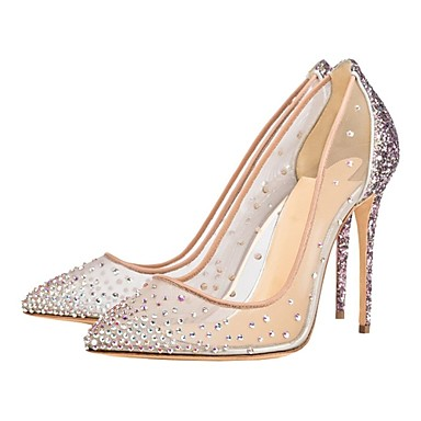 cheap Women's Shoes-Women's Heels / Wedding Shoes Summer Stiletto Heel Pointed Toe Classic Basic Sweet Wedding Party & Evening Rhinestone / Sparkling Glitter Solid Colored Mesh Nude