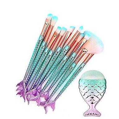 cheap Makeup Brush Sets-11 PCS Makeup Brushes  Mermaid Colorful Make Up Foundation Eyebrow Eyeliner Blush Cosmetic Concealer Brushes