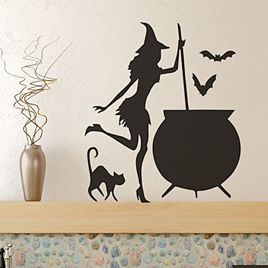 cheap Wall Stickers-Halloween Witch Wall Stickers Decorative Wall Stickers, PVC Home Decoration Wall Decal Wall Decoration / Removable