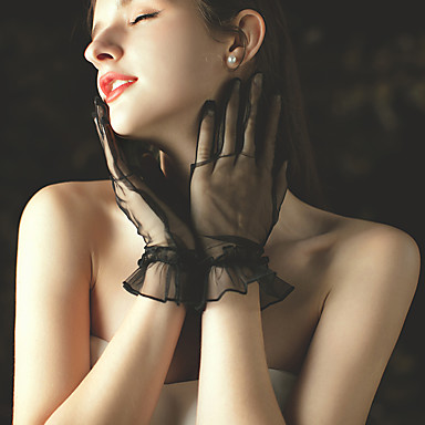 cheap Party Gloves-Net Wrist Length Glove Party / Evening / Lace With Ruffles / Solid