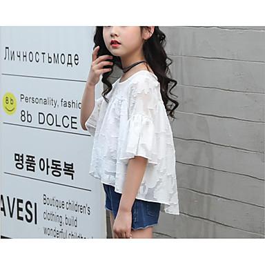 cheap Baby & Kids-Kids Girls' Basic Solid Colored Print 3/4 Length Sleeve Regular Regular Clothing Set White