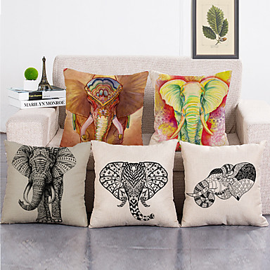 cheap Decorative Pillows-Set Of 5 Pure Linen Cushion Cover Cute Bird Pillow Cover Flora and Fauna for Home Chair Sofa Decorative Pillowcases 45x45 cm