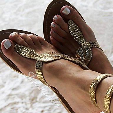 cheap Women's Sandals-Women's Sandals Boho / Beach Flat Sandals Summer Flat Heel Round Toe Daily Solid Colored PU Gold / Silver