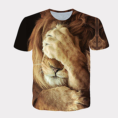 Men's Graphic T-shirt Print Short Sleeve Daily Tops Streetwear Exaggerated Round Neck Yellow