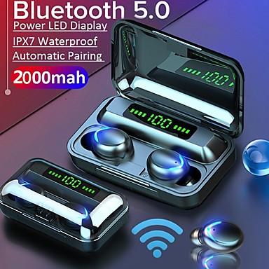저렴한 추천-litbest f9-5 tws 진정한 무선 이어폰 2000 미리 암 페르 하우어 전원 은행 블루투스 5.0 스테레오 스포츠 피트니스 헤드폰 자동 페어링 음성 어시스턴트 터치 제어 led 디스플레이 전화 홀더 케이스