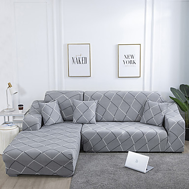 cheap Home Textiles-Stretch Slipcover Sofa Cover Couch Cover Line Printed Sofa Cover Stretch Couch Cover Sofa Slipcovers for 1~4 Cushion Couch with One Free Pillow Case