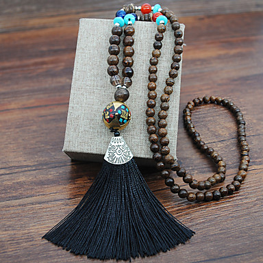 Statement necklace with blue tassel Blue long tassel necklace Ethnic necklace Brass necklace African necklace, Rope necklace