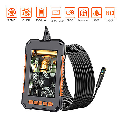 cheap Electrical & Tools-Endoscope Camera 1080P 8mm HD 4.3'' Screen Professional Dual Lens Inspection Camera Handheld Snake Camera with 8 LED IP68 Waterproof 10M