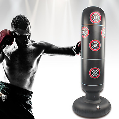 cheap Punching Bags & Boxing Pads-Inflatable Boxing Punching Bag for Kung Fu Martial Arts MMA Grappling Kickboxing Freestanding Flexible Empty Non-toxic Relieves Stress Strength Training Crossfit Black / Kid's