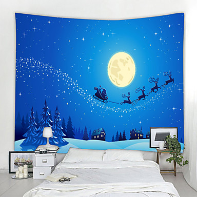 cheap Wall Tapestries-Christmas Santa Claus Wall Tapestry Art Decor Blanket Curtain Picnic Tablecloth Hanging Home Bedroom Living Room Dorm Decoration Snow Gift Moon Elk Polyester