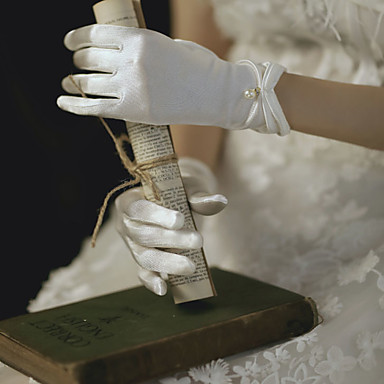 cheap Party Gloves-Satin Suit Length Glove Gloves / Imitation Pearl With Beading