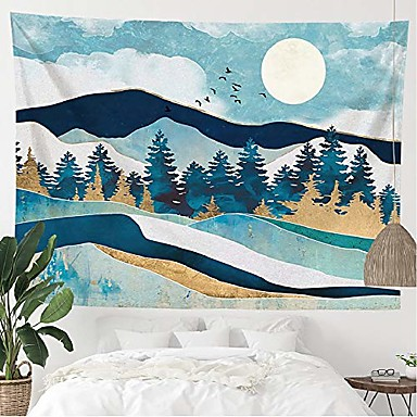 cheap Wall Tapestries-blue mountain landscape tapestry wall hanging, nature forest tree theme large tapestries fits home dorm living room bedroom decor for men and women with non-mark hooks & clips 51x59 inches
