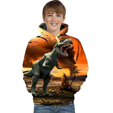 billige Baby & børn-Børn Baby Drenge Aktiv Basale Dinosaur Geometrisk 3D Dyr Trykt mønster Langærmet Hættetrøje og sweatshirt Gul