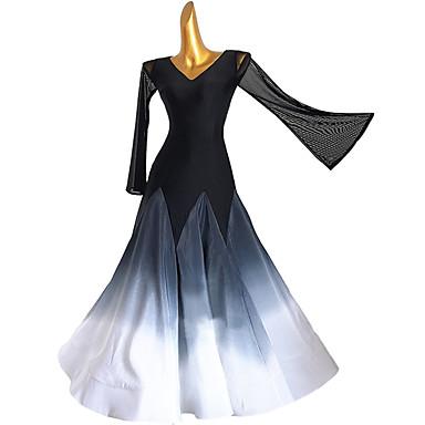 levne Taneční boty a oděvy-Standardní tance Šaty Rozdělení Dámské Trénink Dlouhý rukáv Vysoký Čínský nylon Síťka Šifón