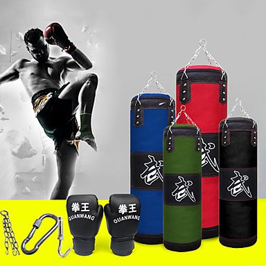 cheap Punching Bags & Boxing Pads-Punching Bag Heavy Bag Kit With Hanger Boxing Gloves Removable Chain Strap Punching Bag for Taekwondo Boxing Karate Martial Arts Muay Thai Adjustable Durable Empty Strength Training 5 pcs Black Blue