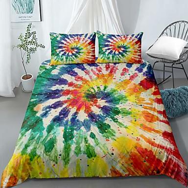 cheap Duvet Covers-Home Textiles 3D Print Bedding Set Duvet Cover Set with Pillowcase,2/3 pcs Duvet Cover Sets Rainbow Tie Dye Print Bedding Set