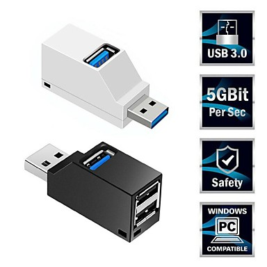 cheap Computer Peripherals-Mini 3 Ports USB 3.0 Splitter Hub High Speed Data Transfer Splitter Box Adapter For PC Laptop MacBook Pro Accessories