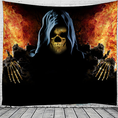 cheap Wall Tapestries-Halloween Wall Tapestry Art Decor Blanket Curtain Picnic Tablecloth Hanging Home Bedroom Living Room Dorm Decoration Psychedelic Skull Skeleton Pumpkin Bat Haunted Scary Polyester