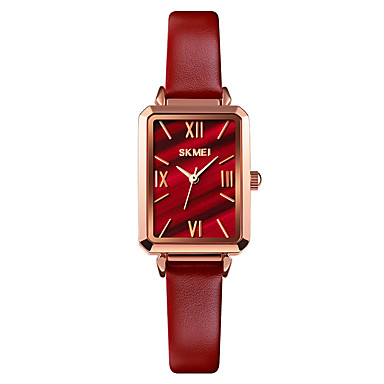 cheap Square & Rectangular Watches-SKMEI Women's Quartz Watches Quartz Formal Style Modern Style Elegant Water Resistant / Waterproof Genuine Leather Black / Red Analog - Black Red Gold One Year Battery Life