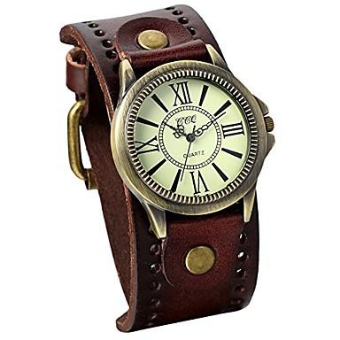 저렴한 여성용 시계-남성용 빈티지 가죽 스트랩 와이드 밴드 손목 시계 커프 쿼츠 시계-브라운