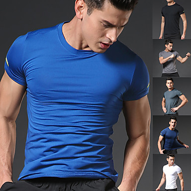 cheap Exercise, Fitness & Yoga-Men's Running T-Shirt Running Base Layer Short Sleeve Summer Elastane Breathable Quick Dry Moisture Wicking Fitness Gym Workout Running Walking Jogging Sportswear Solid Colored Plus Size Tee Tshirt