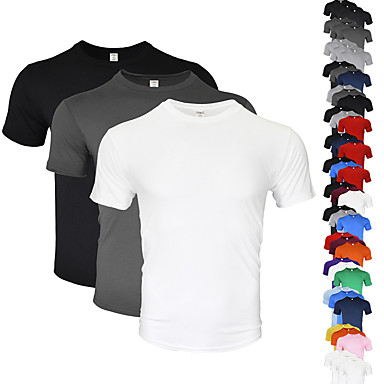 cheap Running, Jogging & Walking-Men's Running Shirt 3 Pack Cotton Breathable Soft Sweat-wicking Fitness Gym Workout Running Everyday Use Jogging Sportswear Solid Colored Tee Tshirt Top Green+White+Purple White Black Dark Gray Light