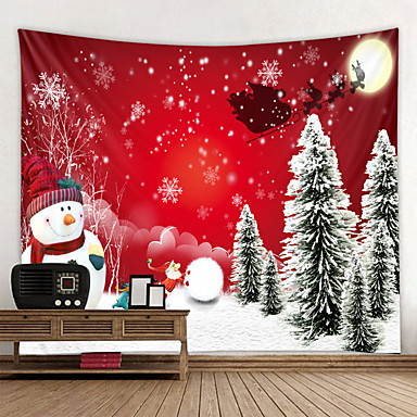 cheap Wall Tapestries-Christmas Santa Claus Holiday Party Wall Tapestry Art Decor Blanket Curtain Picnic Tablecloth Hanging Home Bedroom Living Room Dorm Decoration Christmas Tree Gift Snowman Polyester