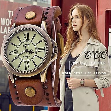 billige Dameklokker-vintage lær stropp bredbånd armbåndsur mansjett kvarts klokke for menn - brun