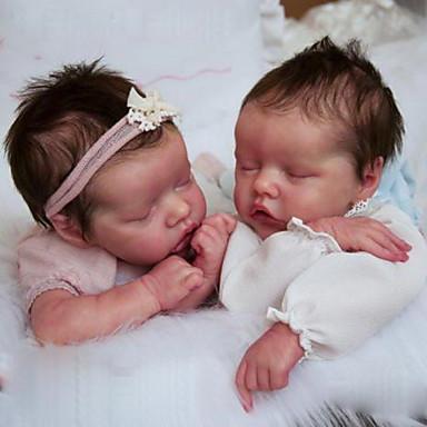 Χαμηλού Κόστους Παιχνίδια-17 inch Κούκλες σαν αληθινές Παιχνίδι για Μωρό & Νήπιο Μωρά Αγόρια Αναγεννημένη κούκλα μωρών Δίδυμα Α Νεογέννητος όμοιος με ζωντανό Χειροποίητο Προσομοίωση Κεφαλής δισκέτας Ύφασμα Σιλικόνη βινύλιο