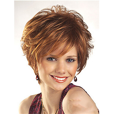 cheap Synthetic Trendy Wigs-Synthetic Wig Curly Pixie Cut Wig Short Dark Brown Synthetic Hair Women's Fashionable Design Comfy Dark Brown