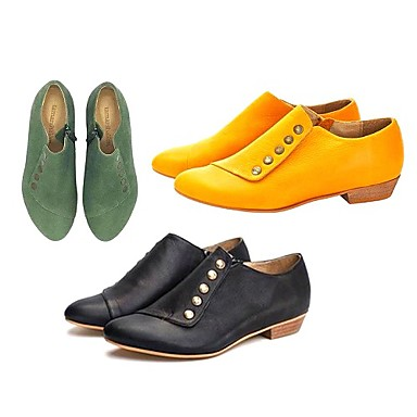 cheap Women's Boots-Women's Boots Comfort Shoes Block Heel Pointed Toe PU Booties / Ankle Boots Summer Black / Yellow / Green