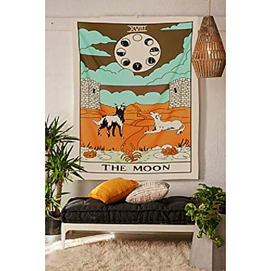 """cheap Wall Tapestries-tarot tapestry, the moon wall hanging tapestries medieval europe divination tapestry, hippie boho wall décor for dorm bedroom living room 59""""x 51"""" – moon"""