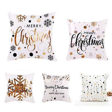 cheap Decorative Pillows-Cushion Cover 5PCS Christamas Party Decoration Christamas Gift Linen Soft Decorative Square Throw Pillow Cover Cushion Case Pillowcase for Sofa Bedroom 45 x 45 cm (18 x 18 Inch) Machine Washable