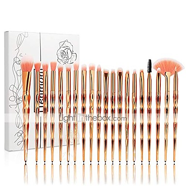 cheap Makeup Brush Sets-20pcs unicorn shiny gold diamond makeup brush set with box professional foundation powder cream blush brush kits & #40;gold, unicorn& #41;
