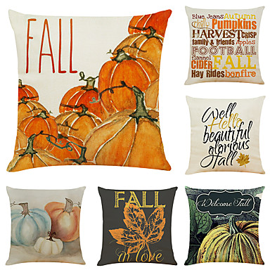 "cheap Throw Pillow Covers-Set of 6 Thanksgiving Pumpkin Linen Square Decorative Throw Pillow Cases Sofa Cushion Covers 18""x18"""