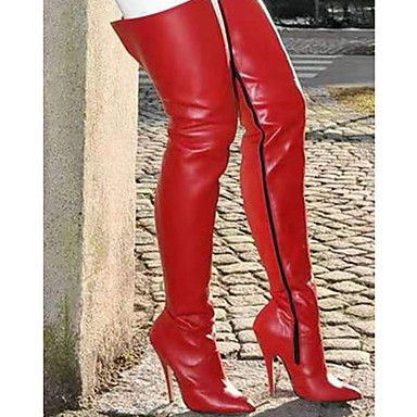 cheap Women's Boots-Women's Boots Stiletto Heel Pointed Toe Casual Basic Daily Solid Colored PU Over The Knee Boots Walking Shoes Black / Red
