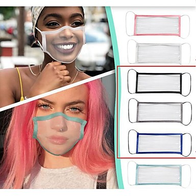 cheap Personal Protection-Transparent Mask Breathable Deaf-mute Lip Language Mask Men and Women Solid Color Masking Adult Solid Color Edging Full Transparent Mask