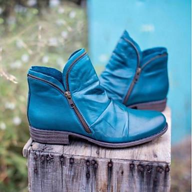 billige Damesko-Dame Støvler Cubanske hæle Rund Tå Afslappet Basale Daglig Ensfarvet Syntetisk læder Ankelstøvler Gang Sort / Lilla / Gul