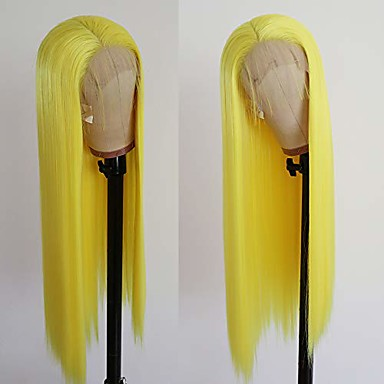 cheap Synthetic Lace Wigs-heat resistant long straight wig yellow synthetic lace front wigs for fashion women 180 density 22 inch
