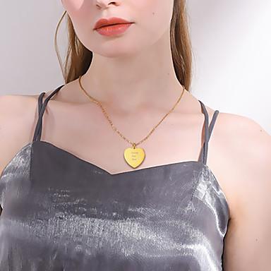 billige Tilpassede smykker-personlig tilpasset Dame Anheng Halskjede 18K Gullbelagt Rustfritt Stål Hjerte Kjærlighetshjerte 1 stk / pakke Gylden Svart Sølv